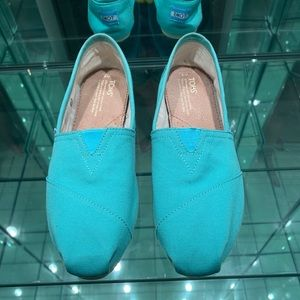 TOMS Teal canvas slip on shoes Classic Fit